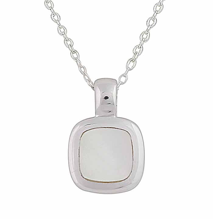 Monther of Pearl Small Square Silver Necklace