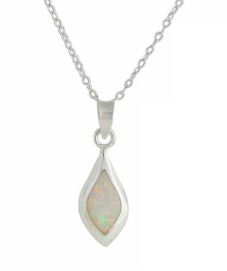 Small Marquise White Opal Silver Pendant