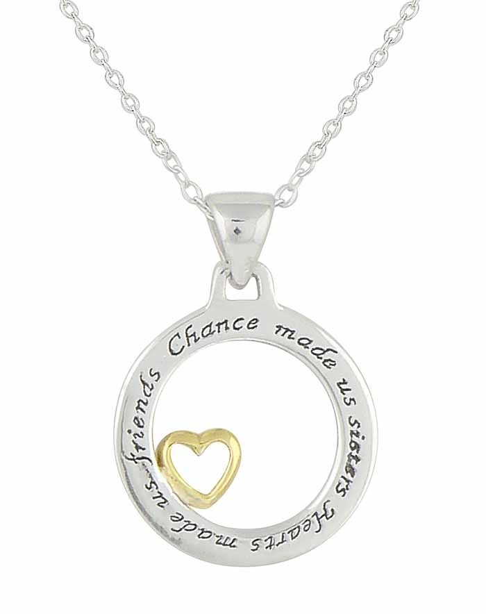 Chance made us sisters Hearts made us friends' and Heart Silver Necklace
