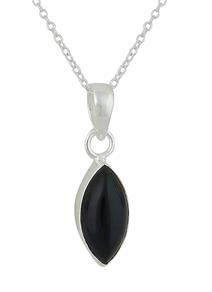 Marquis Black Onyx Small Silver Necklace
