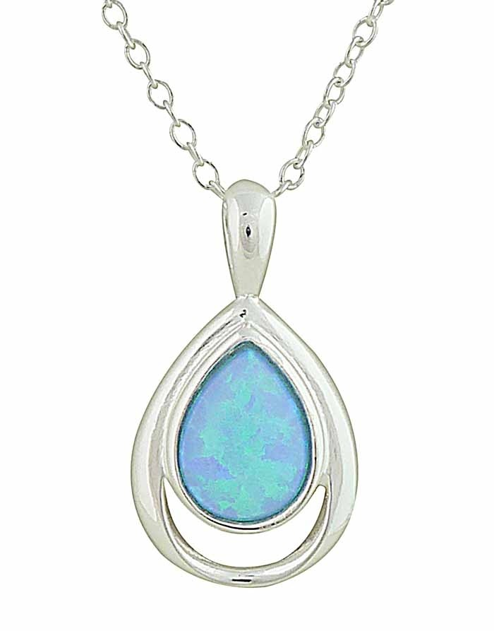 Open Teardrop and Blue Opal Silver Necklace