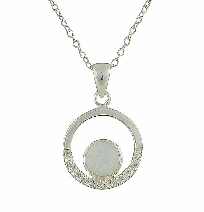 Open Circle Cubic Zirconia and White Opal Necklace