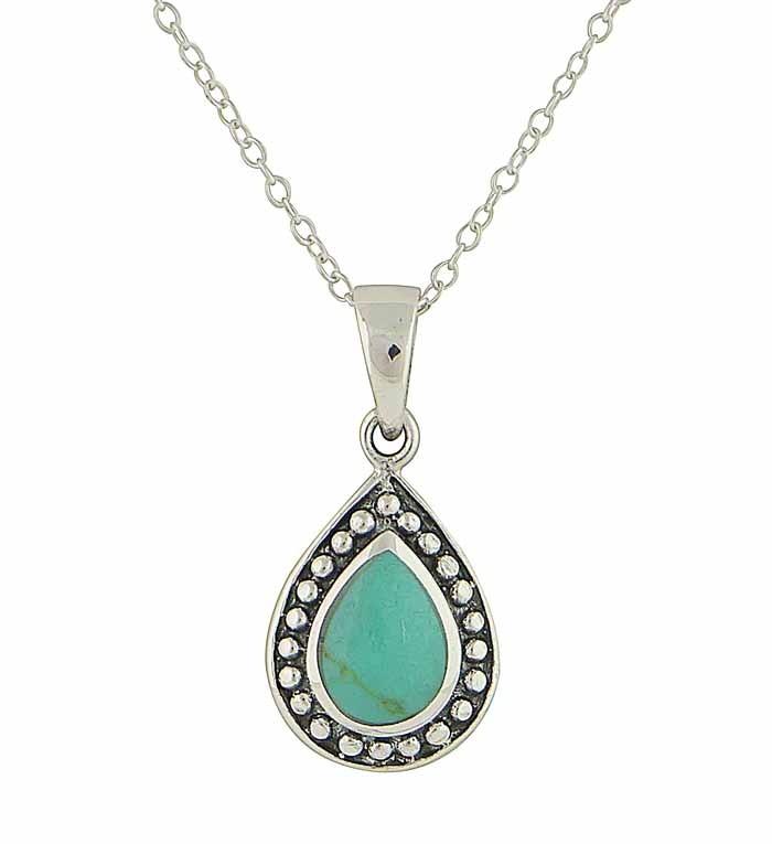 Encased Turquoise Silver Drop Pendant