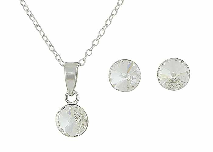 Clear Swarovski Crystal Earring and Necklace Set