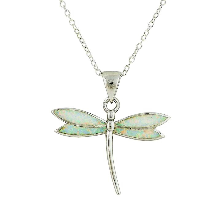 White Opal Dragonfly Pendant Necklace
