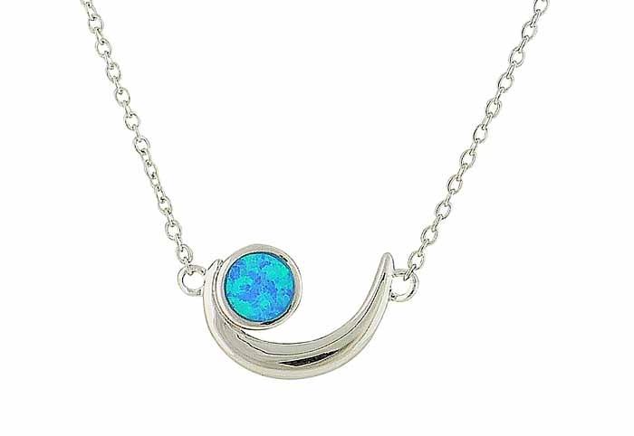 Blue Opal Cradle Silver Pendant