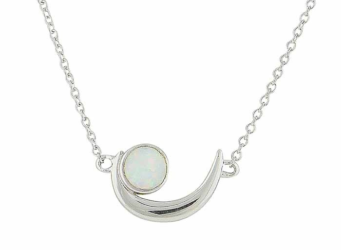 White Opal Cradle Silver Pendant
