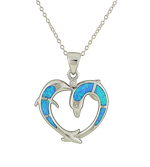 Dolphin and Heart Blue Opal Pendant Necklace
