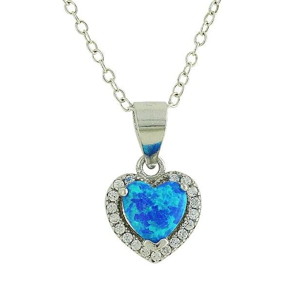 Blue Opal Sparkling Love Heart Necklace