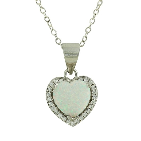 White Opal Sparkling Love Heart Necklace