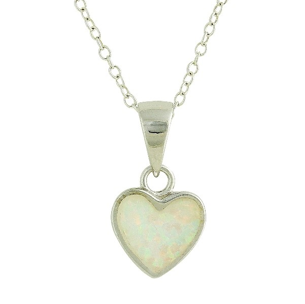 Blue Opal Small Heart Silver Necklace
