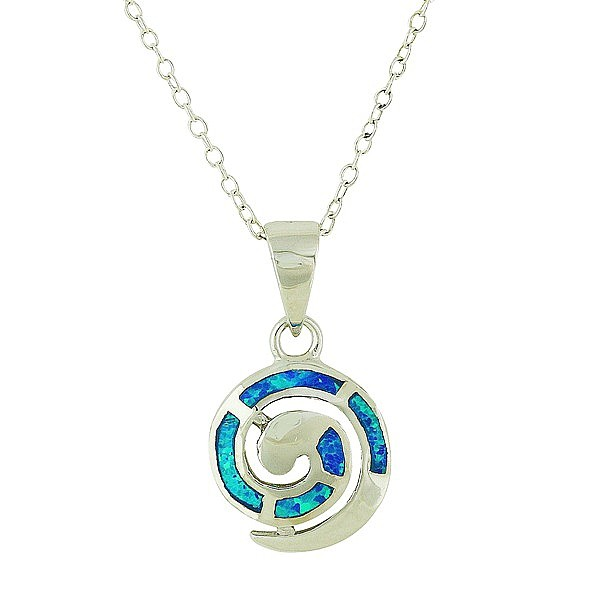 Blue Opal Coil Small Silver Pendant