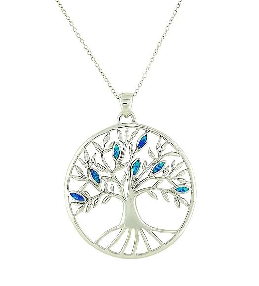 Blue Opal Large Tree of Life Pendant