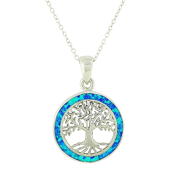 Blue Opal Surround Tree of Life Necklace