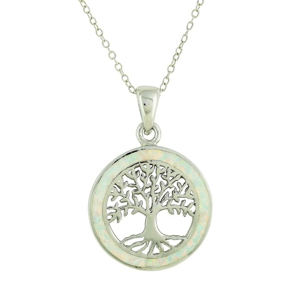 White Opal Surround Tree of Life Necklace