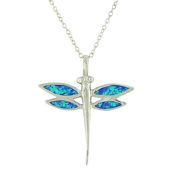 Delicate Dragonfly Blue Opal Pendant