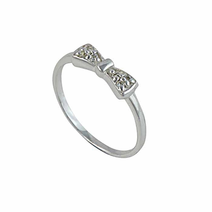 Bow and Cubic Zirconia Silver Ring