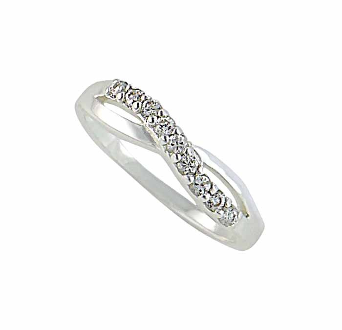 Curved Crossover Silver Ring