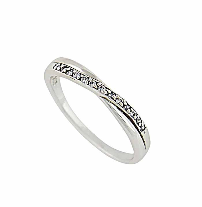 Crossover Cubic Zirconia sterling Silver Ring