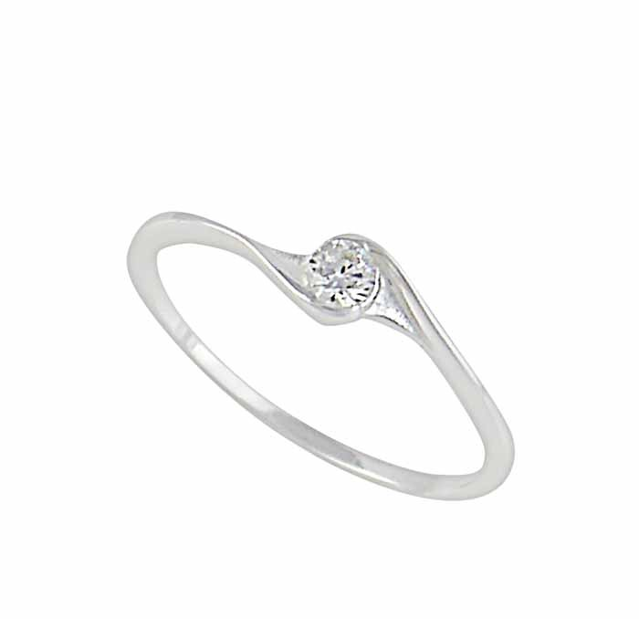 Solitaire Cubic Zirconia Silver Ring