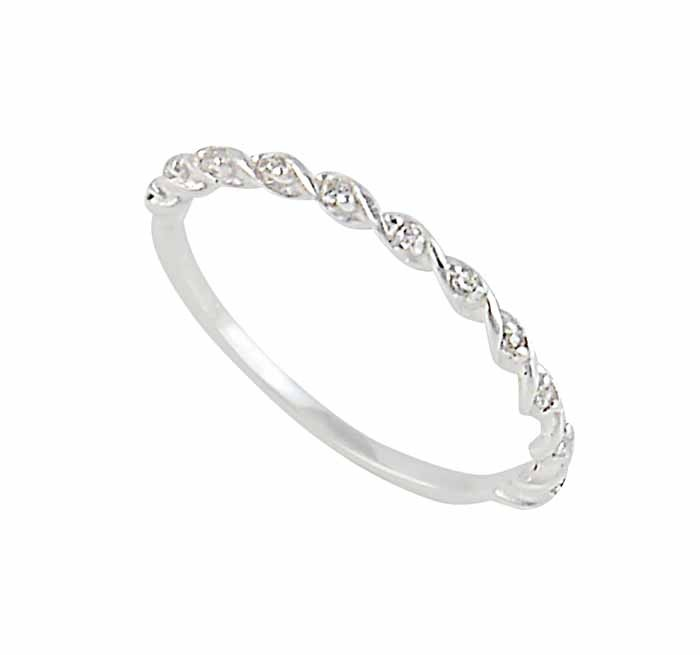 Twisted Silver Ring with Cubic Zirconia