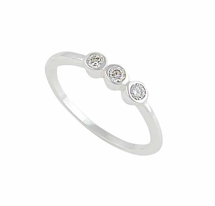 Three Cubic Zirconia Silver Ring