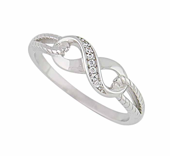 Single Row Cubic Zirconia Silver Infinity Ring
