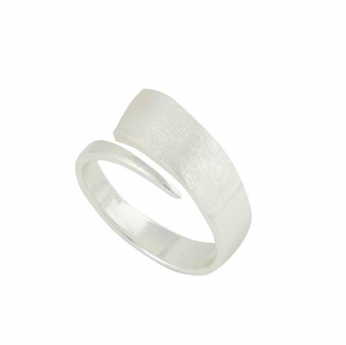 Matt Finish Silver Bar Ring