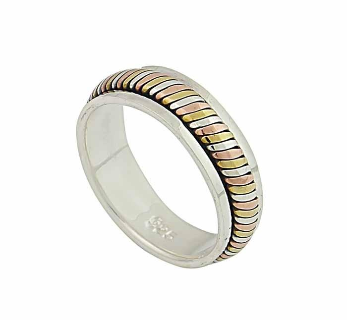 Three Tone Silver Band Ring