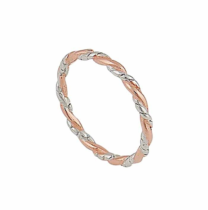 Silver and Rose Gold Plated Twist Stacking Ring