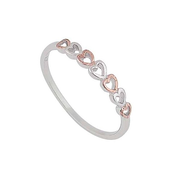 Rose Gold Plated Open Heart Silver Stacking Ring