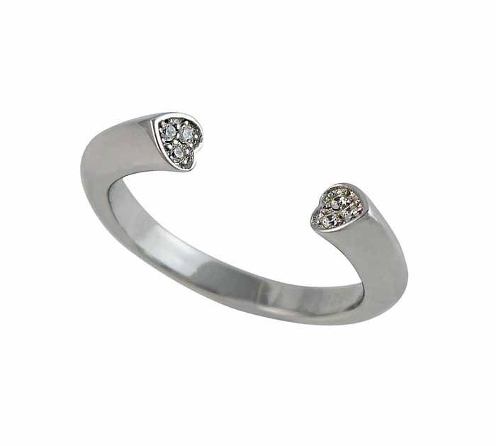 Double Heart Cubic Zirconia Adjustable Ring