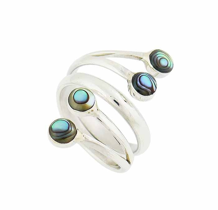 Round Abalone Sterling Silver Ring