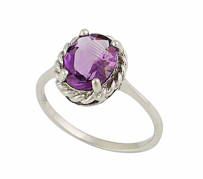 Faceted Oval Amethyst Silver Ring