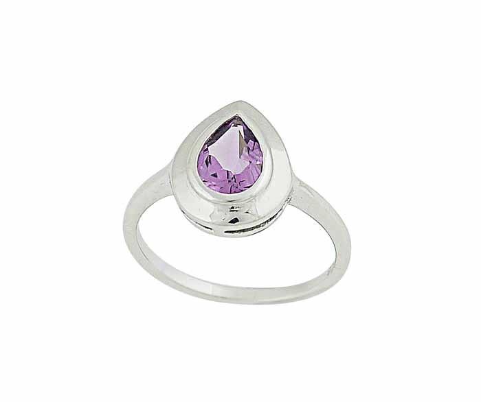 Faceted Teardrop Amethyst Silver Ring