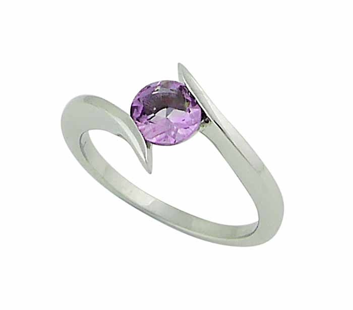 Single Amethyst Stone Silver Ring