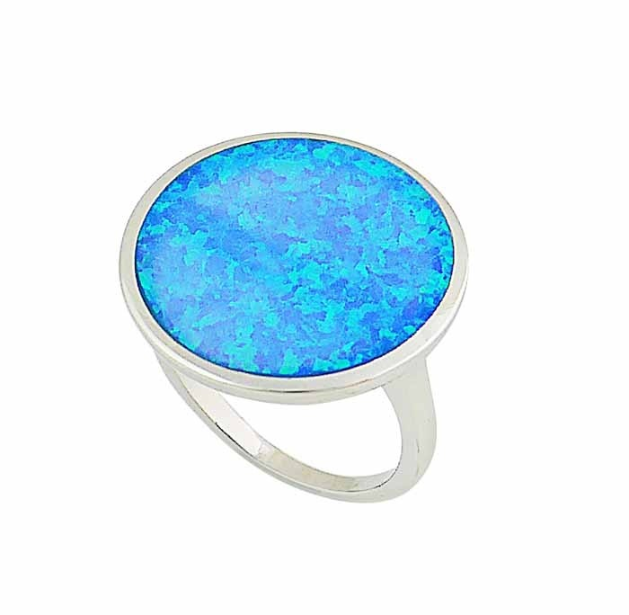 Large Circle Blue Opal Ring