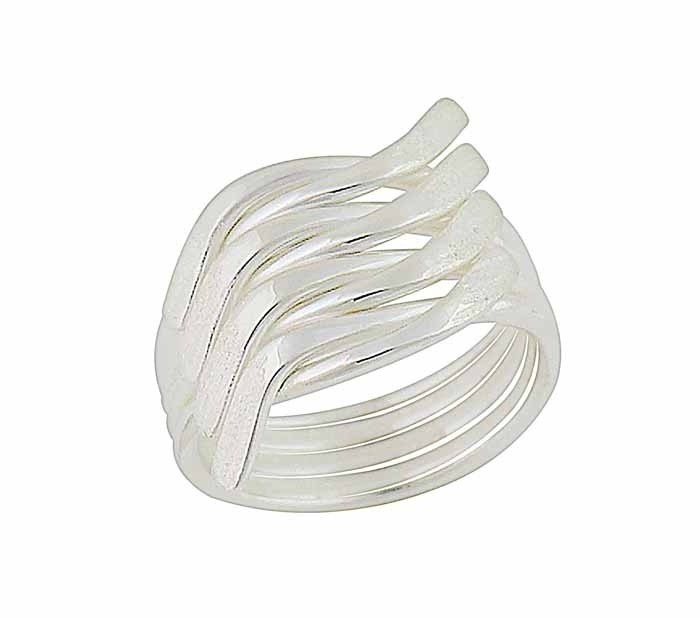 Wavy Lines Silver Statement Ring