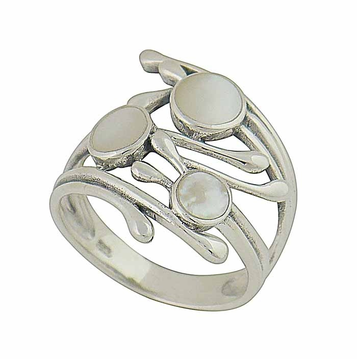 Scattered Mother of Pearl Silver Ring