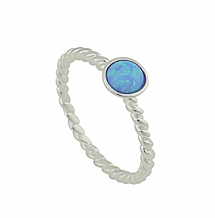 Blue Opal Stone Twisted Band Silver Ring