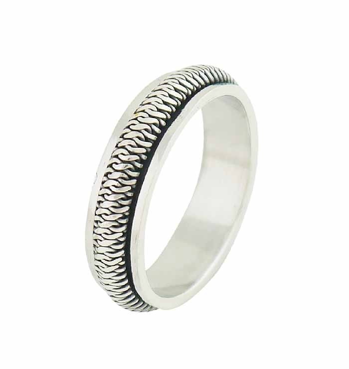 Miniature Twist Silver spinner Ring