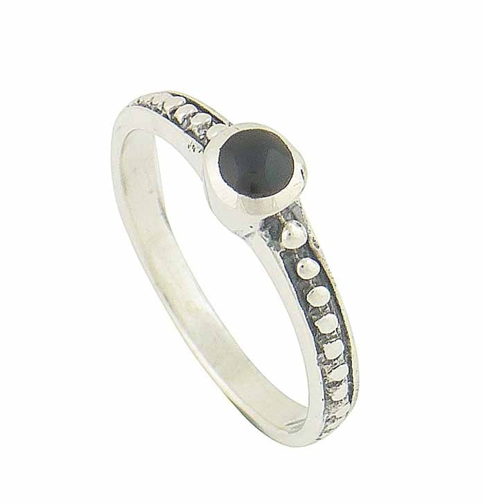 Black Onyx Dotted Silver Ring