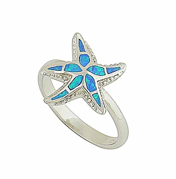 Blue Opal Starfish Silver Ring