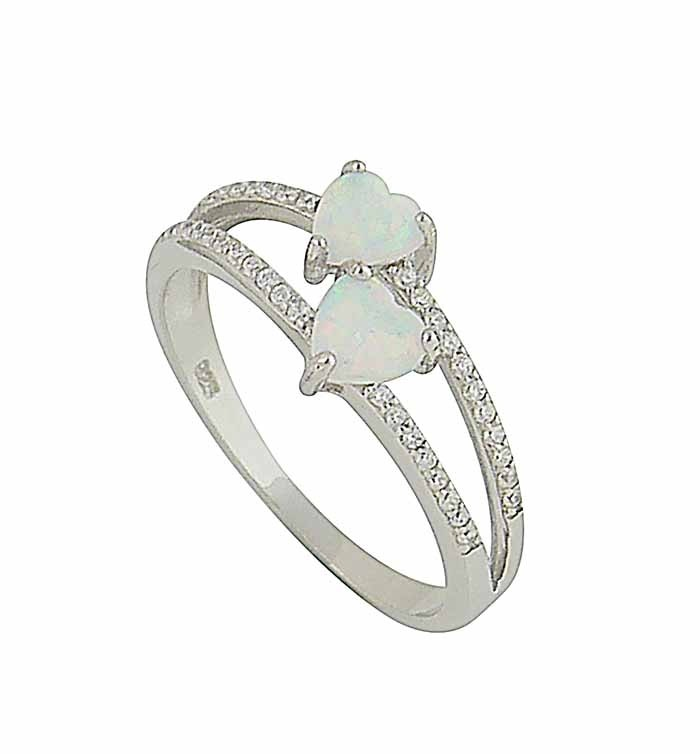 Heart Duet White Opal Ring