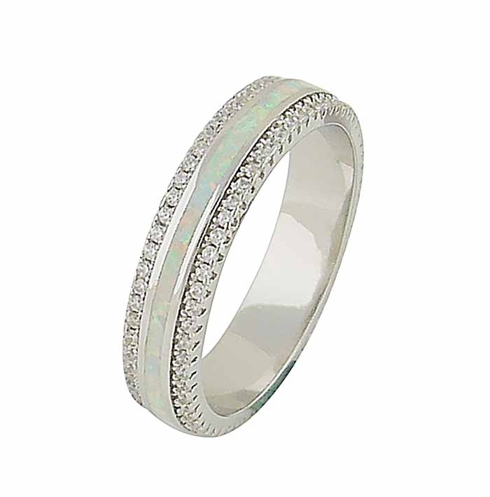 White Opal Central Band Silver Ring