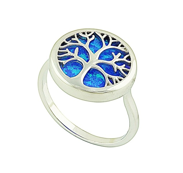 Blue Opal Tree of Life Silver Ring