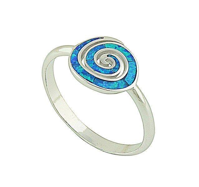 Blue Opal Coil Ring
