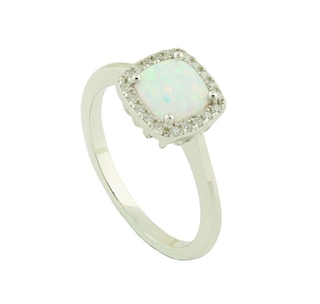 White Opal Regality Silver Ring