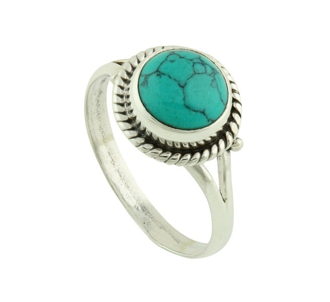 Turquoise Coin Silver Ring