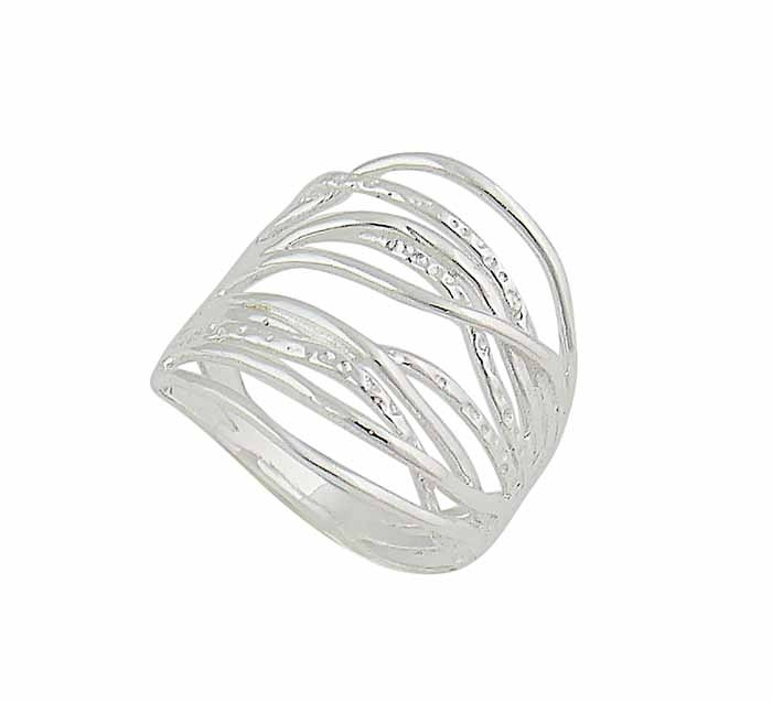 Hammered and Plain Curved Band Silver Ring